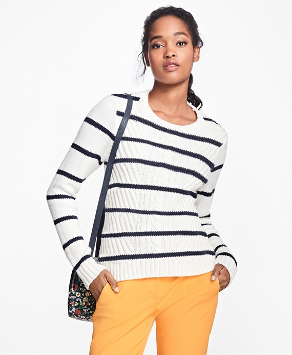 Cotton Stripe Crewneck Sweater White-Navy