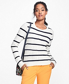 Cotton Stripe Crewneck Sweater