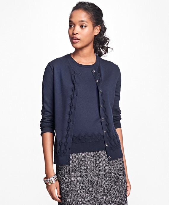 Supima® Cotton Pointelle Cardigan Navy
