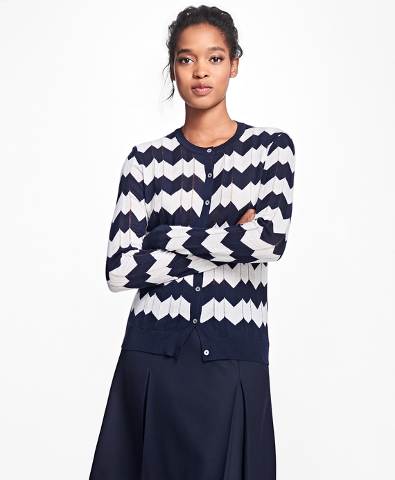 Chevron Merino Wool Pointelle Cardigan Navy-Ivory