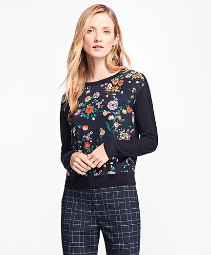 Mixed-Media Floral Crewneck Sweater