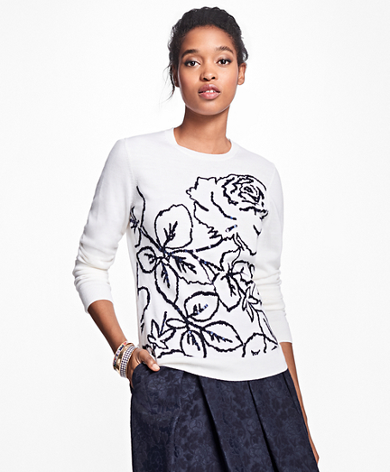 Merino Wool Rose Intarsia Sweater