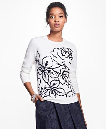 Merino Wool Rose Intarsia Sweater