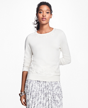 Floral-Embroidered Supima® Cotton Crewneck Sweater