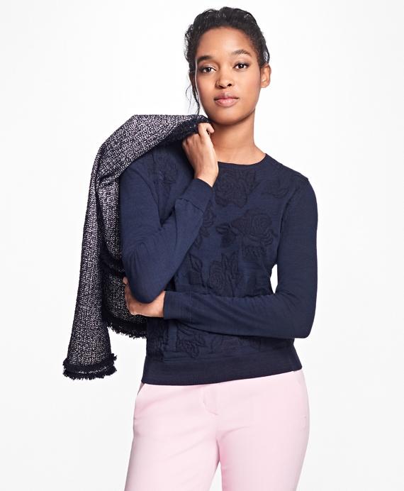 Floral Jacquard Crewneck Sweater