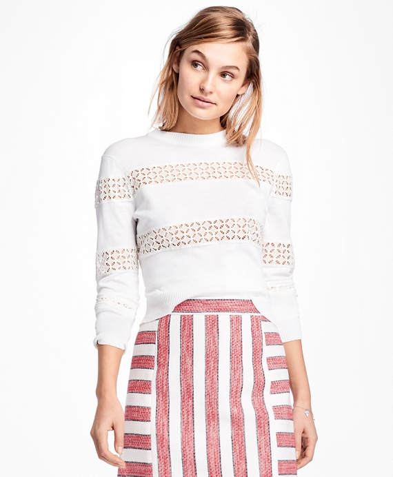 Eyelet-Striped Cotton Sweater White