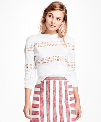 Eyelet-Striped Cotton Sweater
