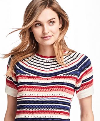 Cotton Pointelle Short-Sleeve Sweater