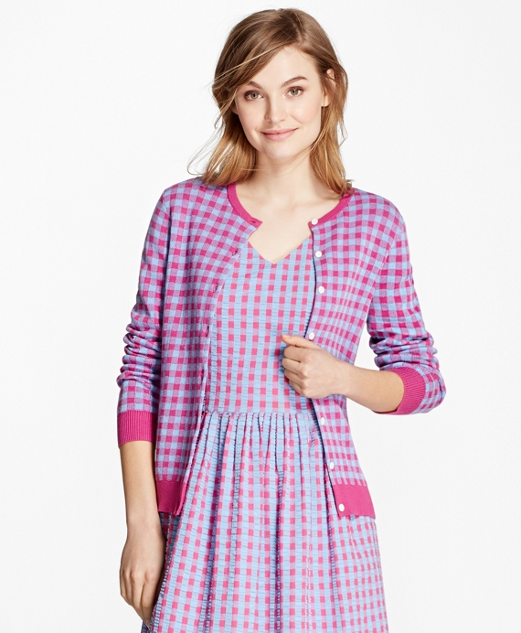 Gingham Cotton-Nylon Cardigan Fuchsia-Blue