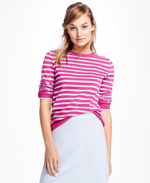 Stripe Crewneck Sweater Fuchsia-Blue