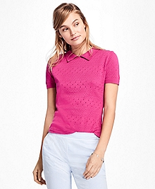 Short-Sleeve Cotton Pointelle Polo Sweater