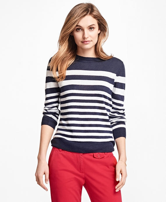 Striped Linen Sweater Navy-White