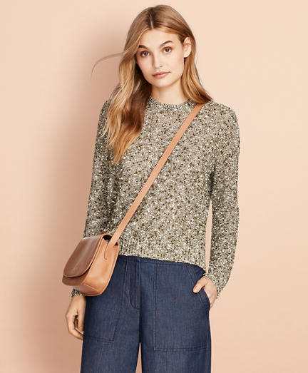 Cropped Shimmer Boucle Sweater