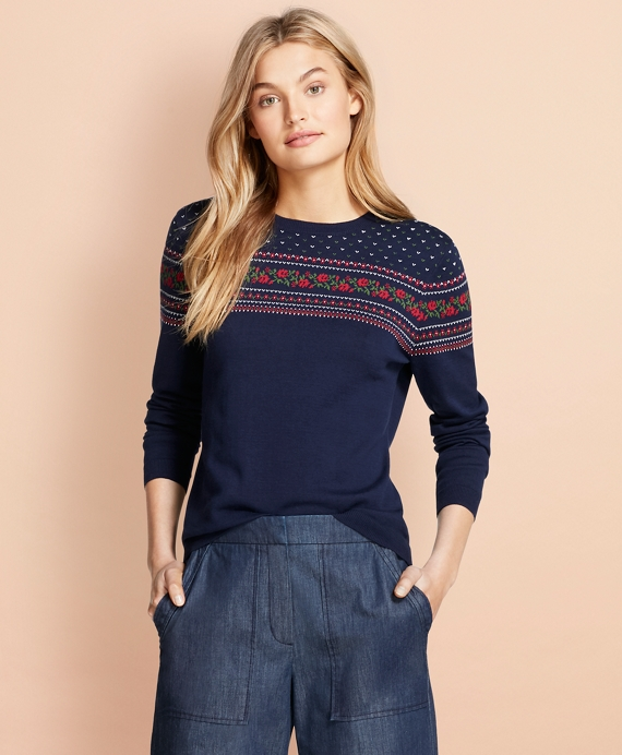Floral-Patterned Cotton Sweater Navy-Multi