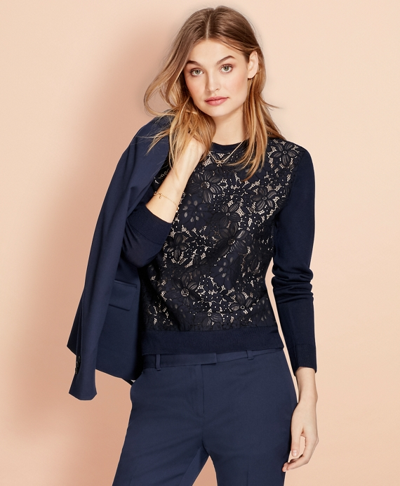 Floral Lace and Merino Wool Sweater Navy