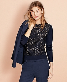 Floral Lace and Merino Wool Sweater