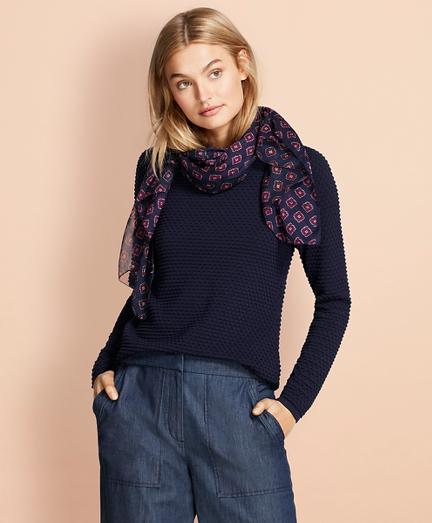 Bobble-Stitch Cotton Sweater