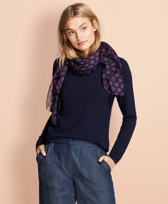 Bobble-Stitch Cotton Sweater Navy