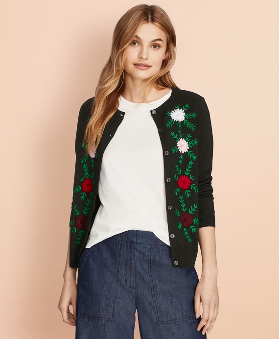 Floral-Embroidered Merino Wool Cardigan Navy