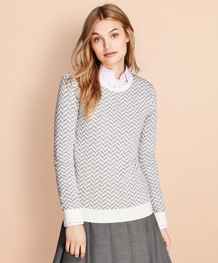 Herringbone Merino Wool Sweater