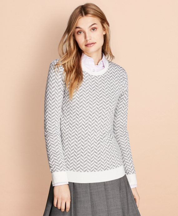 Herringbone Merino Wool Sweater Grey-White