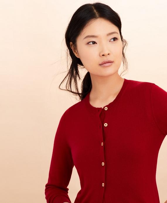 Merino Wool Cardigan Red