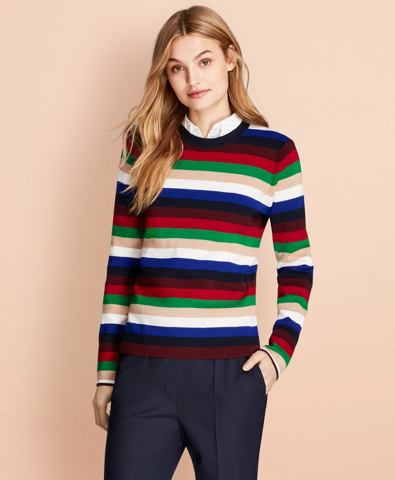 Striped Rib-Knit Merino Wool Sweater Multi