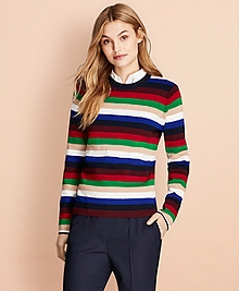 Striped Rib-Knit Merino Wool Sweater