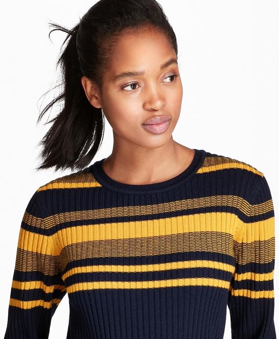 Striped Rib-Knit Merino Wool Sweater