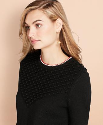 Bobble-Knit Wool Sweater