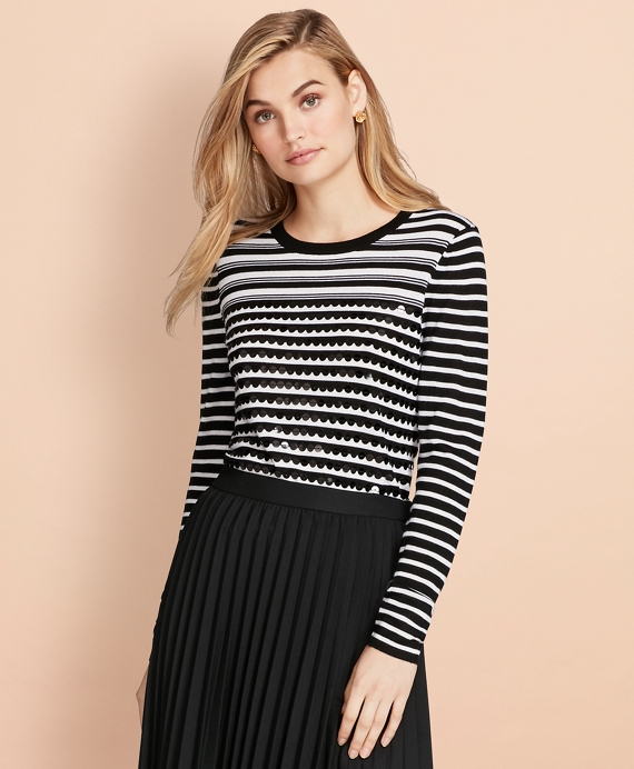Sequin-Embellished Striped Merino Wool Sweater Black-White