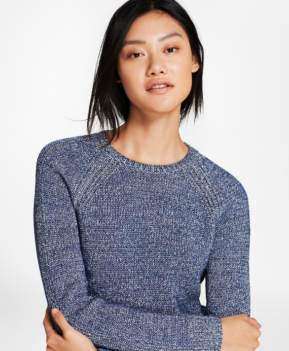 Marled Cotton-Blend Sweater Navy