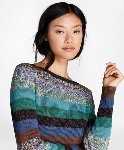 Brooks Brothers Shimmer-Stripe Rib-Knit Sweater