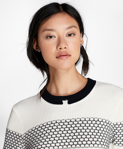 Tuck-Stitch Cotton Sweater