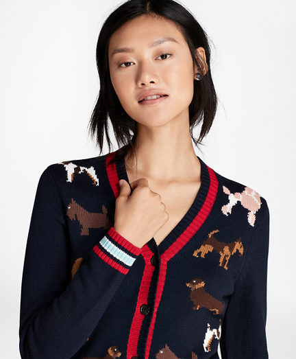 Dog-Patterned Cotton Cardigan