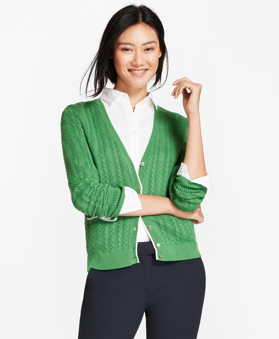 Cotton Pointelle Cardigan Green
