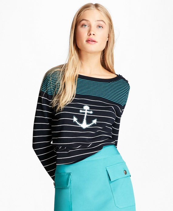 Cotton Anchor Sweater Navy-Teal