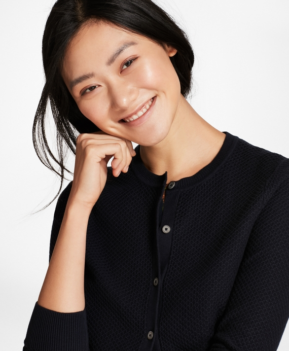 Tuck-Stitch Cotton Cropped Cardigan Navy