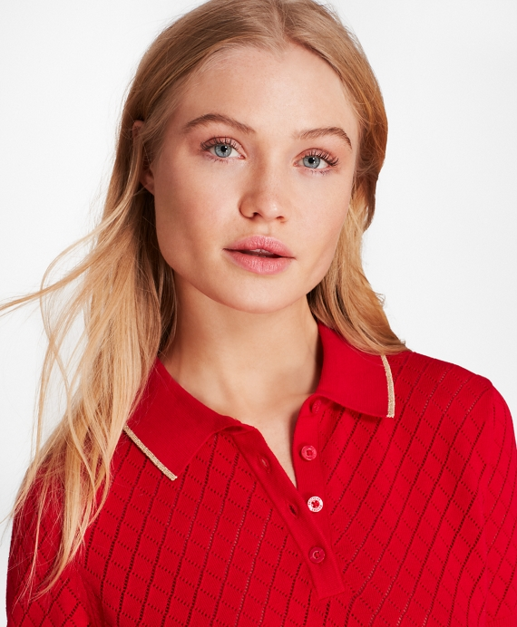 Pointelle Polo Red