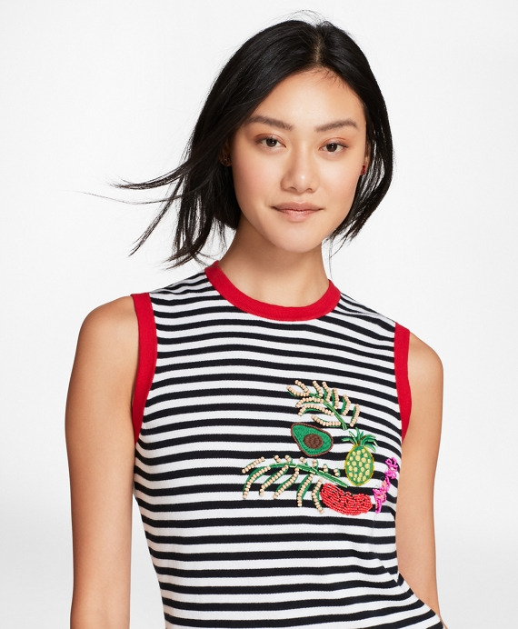 Tropical-Embellished Striped Cotton Knit Top Navy-White