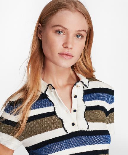 Striped Bird's-Eye-Knit Cotton Polo Sweater