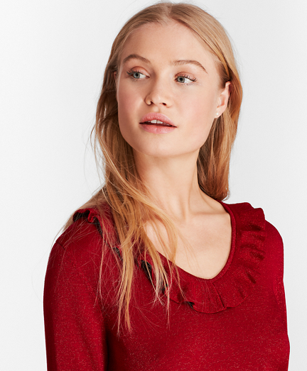 Ruffle-Trimmed Sparkle-Knit  Sweater