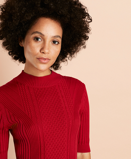 Cable-Knit Cotton Mockneck Sweater