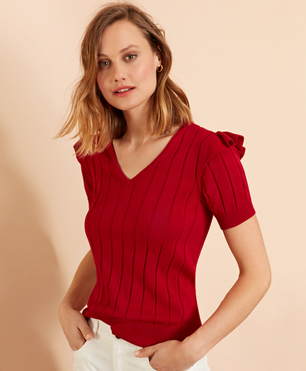 Cotton Ruffle-Trim Short-Sleeve Sweater