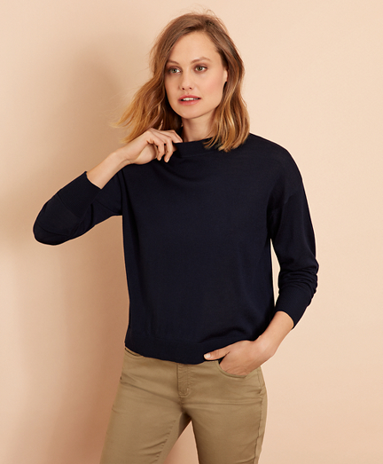 Merino Wool Pointelle-Detail Crewneck Sweater