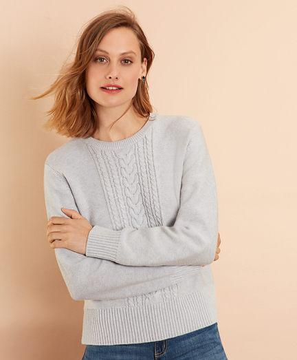 Wool-Cotton Cable-Knit Sweater