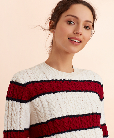 Striped Wool-Cotton Cable-Knit Sweater