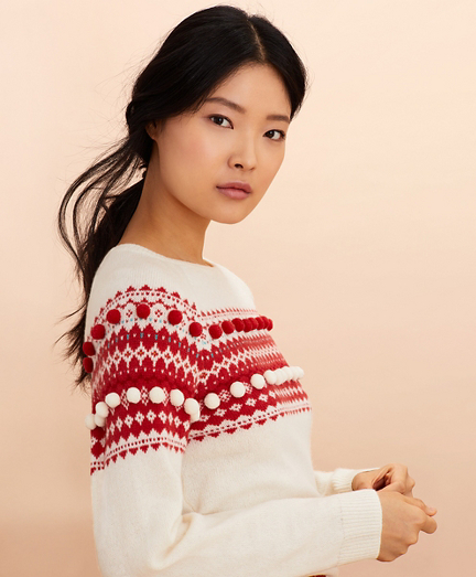 Stretch Merino Wool Fair Isle Sweater