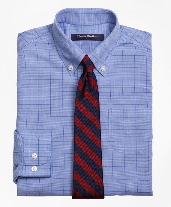 Non-Iron Supima® Cotton Broadcloth Plaid Dress Shirt Blue