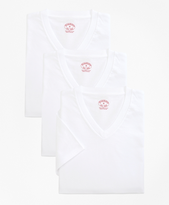 Cotton V-Neck Undershirt - Three Pack White
